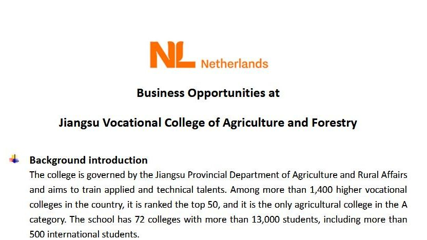 Business Opportunity Report Jiangsu Agri-animal Husbandry Vocational College (JSAHVC)