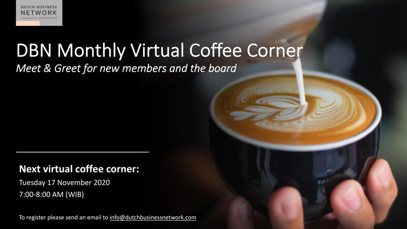 DBN Monthly Virtual Coffee Corner